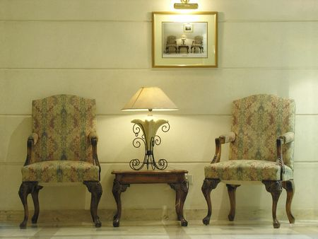 chairs. hotel. lamp Stock Photo