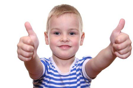 objecion: Muchacho feliz con las dos manos  Foto de archivo