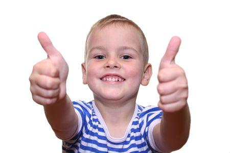 objecion: Muchacho feliz con las dos manos 2