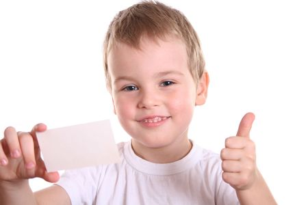 objection: boy giving OK with card for text