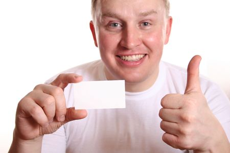 man with card and thumb up photo