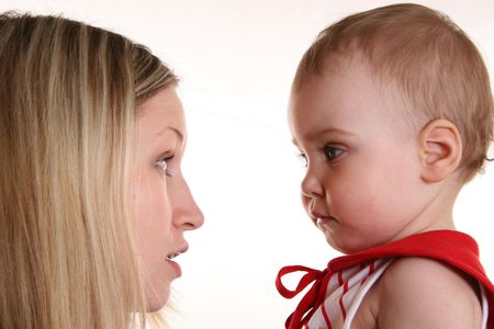 baby chick: mother talk with  Stock Photo
