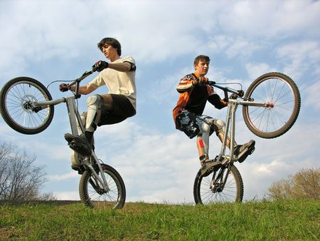 two Mountain Bikers on second weels photo