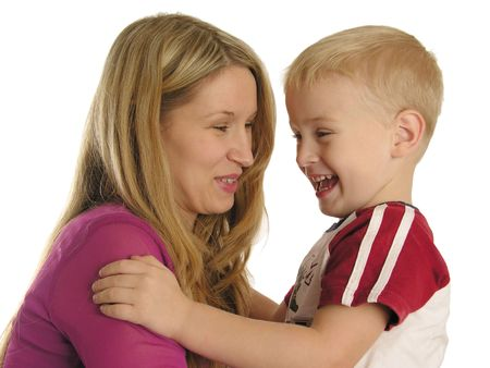bobby: smiling mother with son Stock Photo