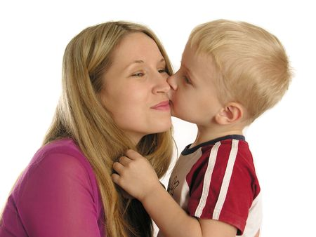 child kiss mother Stock Photo