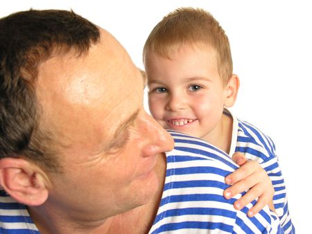 grandson behind grandfather isolated Stock Photo - 426169