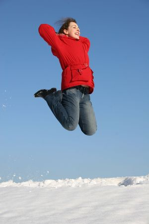 jump girl winter Stock Photo