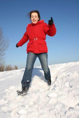 running winter girl photo