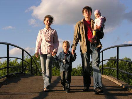 glades: family on bridge Stock Photo