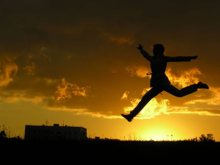 jump girl sunset Stock Photo - 547882