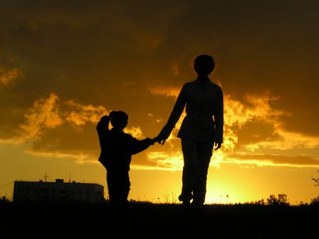 mother with son sunset Stock Photo - 547881
