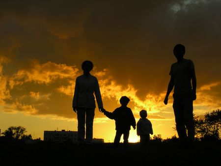family of four sunset 3 Stock Photo - 547880