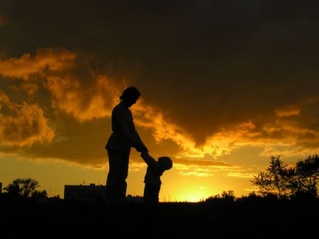 mother with  sunset Stock Photo - 547878