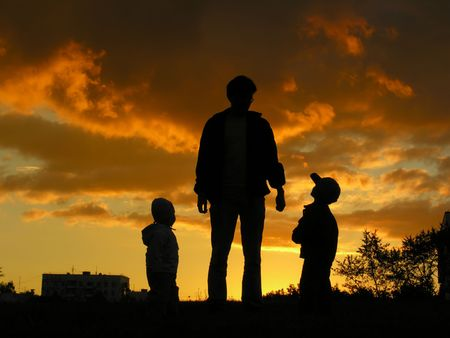 father with children sunset 2 Stock Photo - 547848