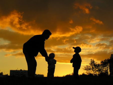 father with children sunset Stock Photo - 547847