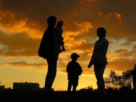 family of four sunset Stock Photo - 547846