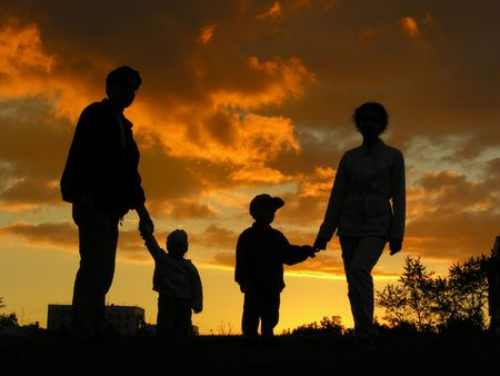 family of four sunset 2 Stock Photo - 547845