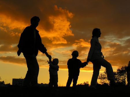 family of four sunset 3 Stock Photo - 547843