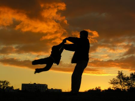 rotate: father rotate son sunset