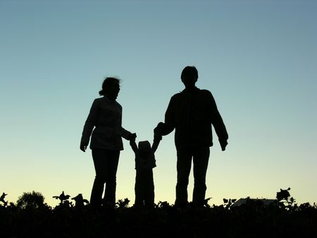 family with  sundown Stock Photo - 547841