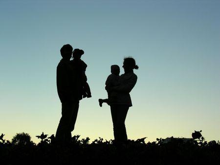 family with children sundown photo