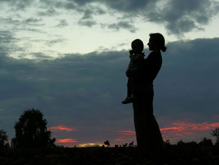 silhouette mother with