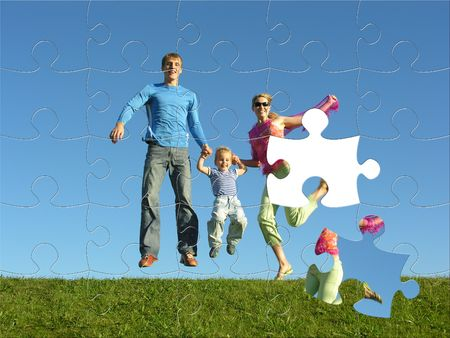 life metaphor: fly happy family puzzle