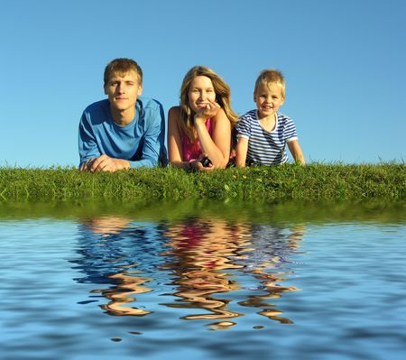 family with water Stock Photo