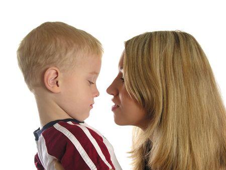 dolorous: mother with sad boy