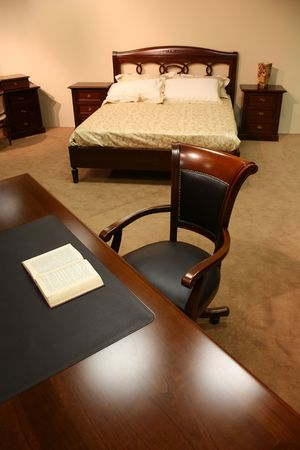 nice accommodations: book in bedroom