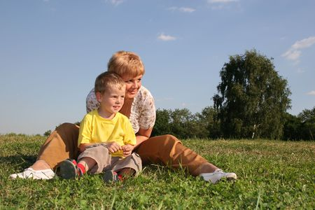 mother with boy watch Stock Photo - 547595