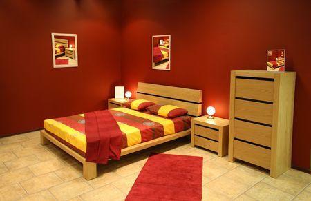 red modern bedroom photo