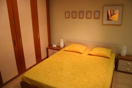 brown yellow bedroom Stock Photo - 573163