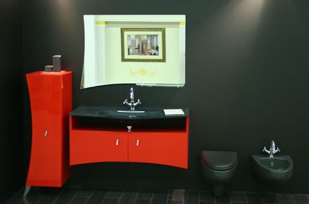 luxe: black red toilet Stock Photo
