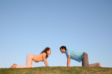 all smiles: all fours couple Stock Photo