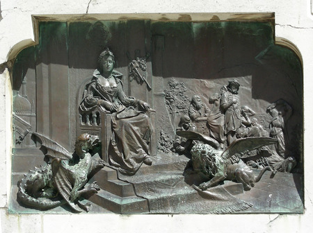 Bas-relief on monument at Dubrovnik made in venetian stile. Lion with vings simbolises Venetia.    Stock Photo