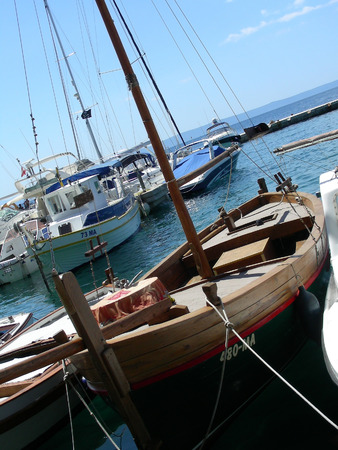 motorboats: Liitle harbor with yachts and motorboats at Brela           Stock Photo