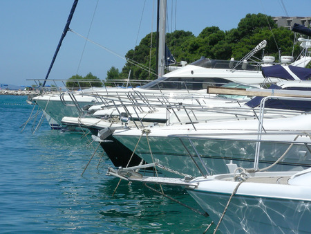 motorboats: Little harbor with yachts and motorboats at Brela, Croatia