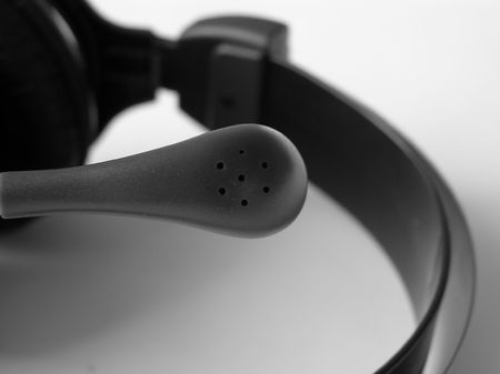 On a photo the microphone from headphones, a photo black-and-white is represented, the photo is made in Ukraine      photo