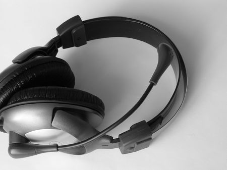 On a photo it is made in Ukraine headphones which are represented lay on a white background. A black-and-white photo       photo