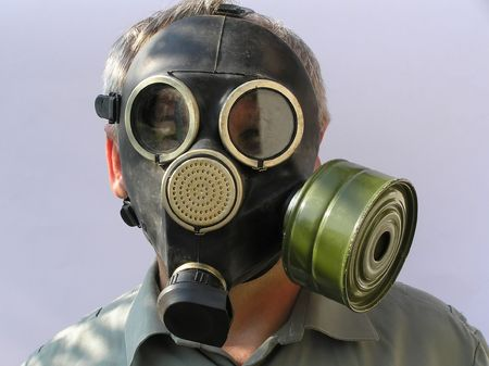 The man in a gas mask. Photos made in Ukraine photo