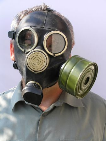 The man in a gas mask.Photos made in Ukraine photo