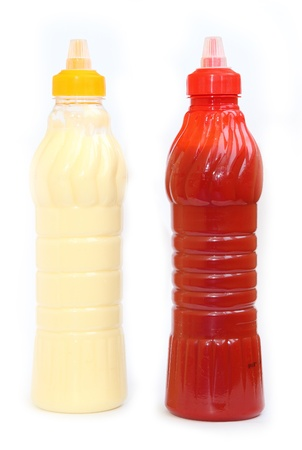 ketchup and mayonnaise in bottles photo
