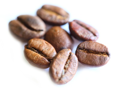 Coffee beans on white background photo