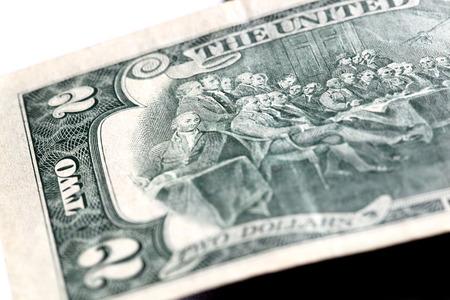 two dollar bill: two dollar bill. close-up photo Stock Photo