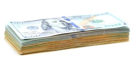 bundle of money isolated on white background photo