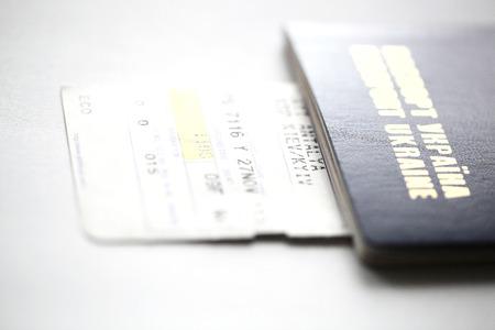 Ukrainian passport and air ticket photo