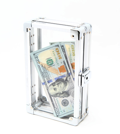stingy: Case with money on a light background