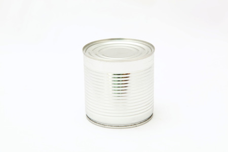 unlabelled: Tin food can on a white background