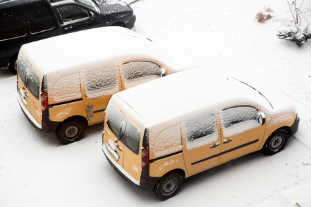 Cars covered with snow photo